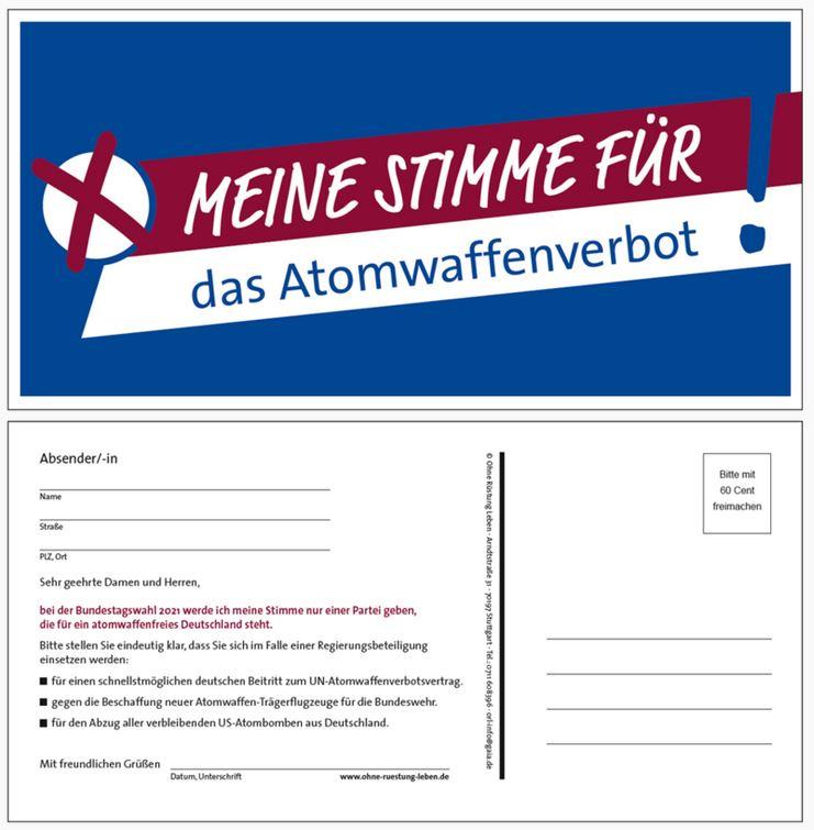 Bild und Forderungstext der Aktionspostkarte Meine Stimme für das Atomwaffenverbot!